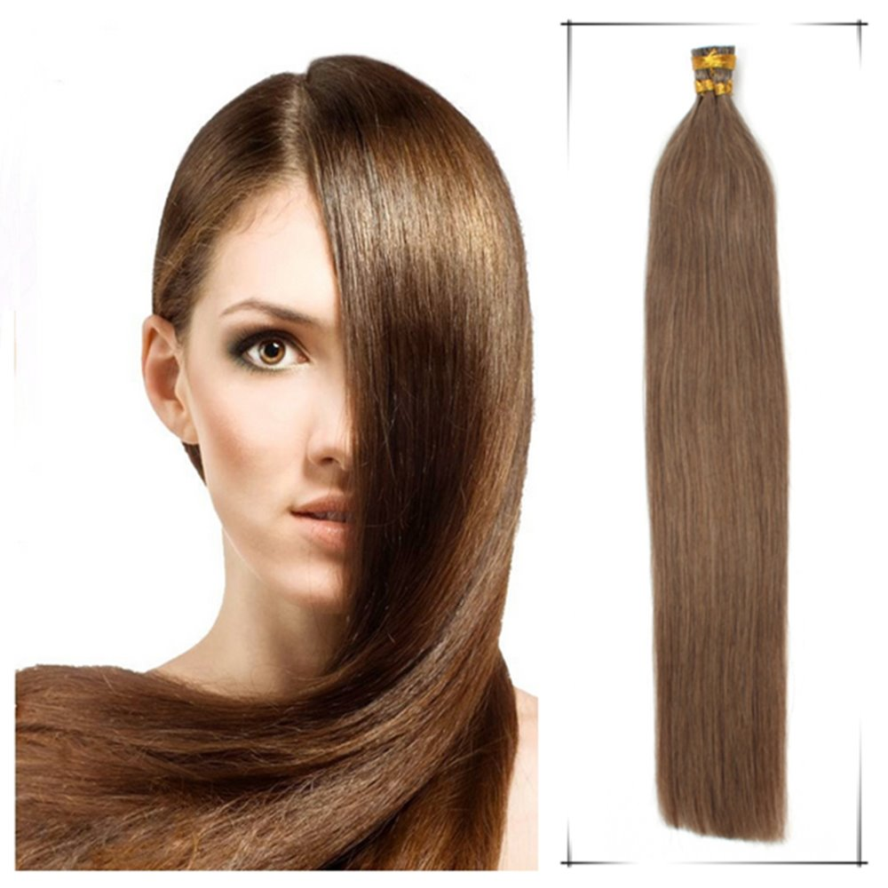 "Wholesale 16"" Brazilian Human Keratin Stick Tip Hair Straight40g/Lot Shedding Free+100Free Beads Extensiones De Cabello Superior(China (Mainland))"
