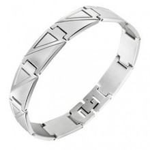 new Men/Women's Titanium Steel bracelets bangles Birthday Friendship Sport Gift Triangle pattern casual love pulseiras masculina(China (Mainland))