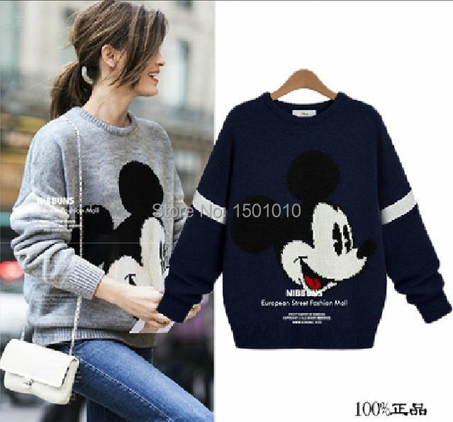winter women printed Mickey Minnie Mouse sweater 2014 fashion casual knitted long sleeve pullover christmas jumper plus size(China (Mainland))