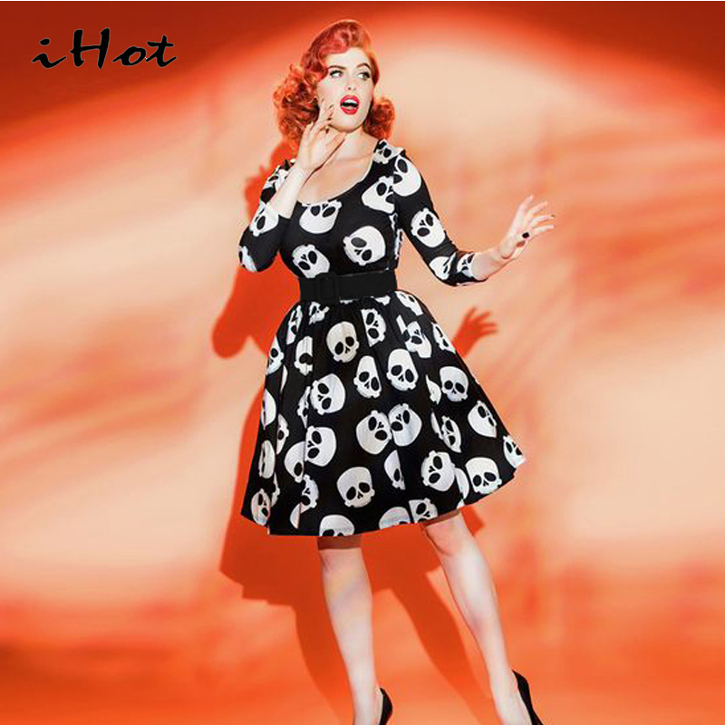 IHOT Summer dress elegant Vintage Ball Gown Skulls print 50s 60s rockabilly pinup Evening Party large size Clothes womens 2017(China (Mainland))