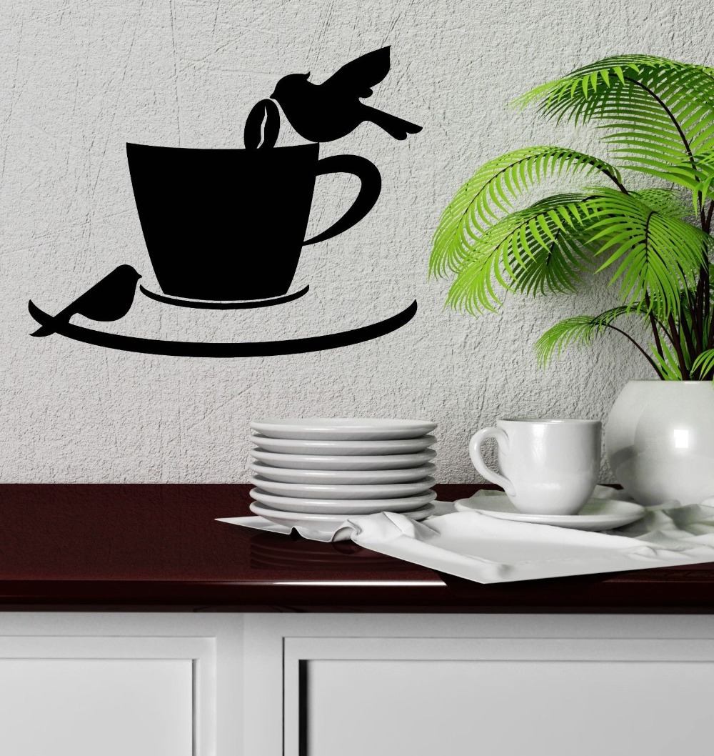 Wall Decal Birds Coffee Shop Cup Cafe Kitchen Decor Vinyl Stickers In