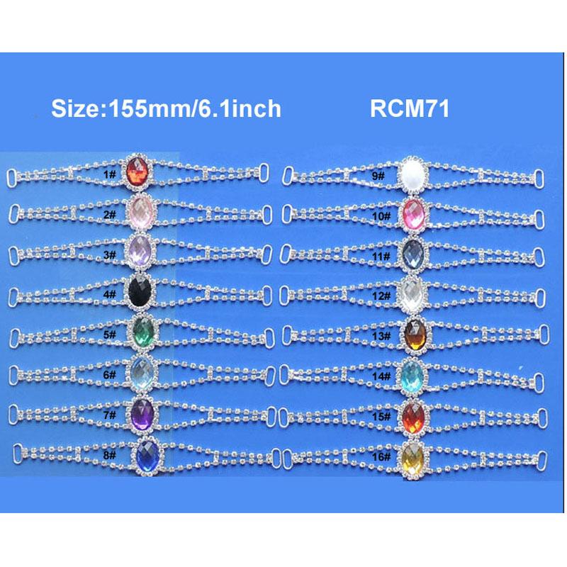 30pcs 6.1inch 16colors Acrylic heart rhinestone connector Bikini Connectors Crystal connectors  RCM71