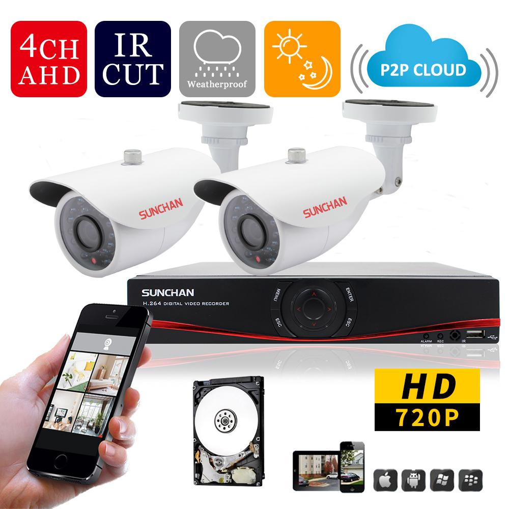 Гаджет  SUNCHAN 4CH AHD DVR Kit 2*720P 1.0MP 1200TVL CCTV System FULL 720p Realtime AHD DVR Outdoor Video Security Camera System 500GB None Безопасность и защита