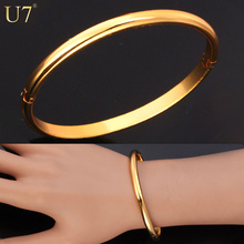 U7 Simple Style Bangle Fashion Jewelry Wholesale Men/Women Gift Trendy 18K Real Gold Plated Copper Round Bracelets Bangles H321(China (Mainland))