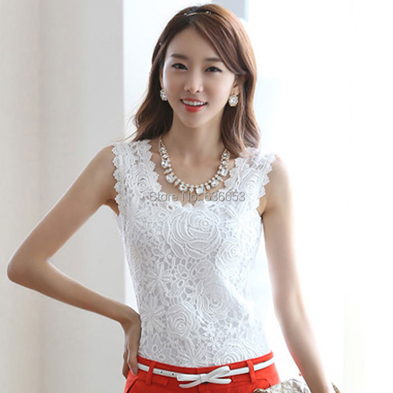 women tops white lace blouse shirt  fashion 2015 female body autumn summer style work wear sleeveless sheer cotton slim clothing