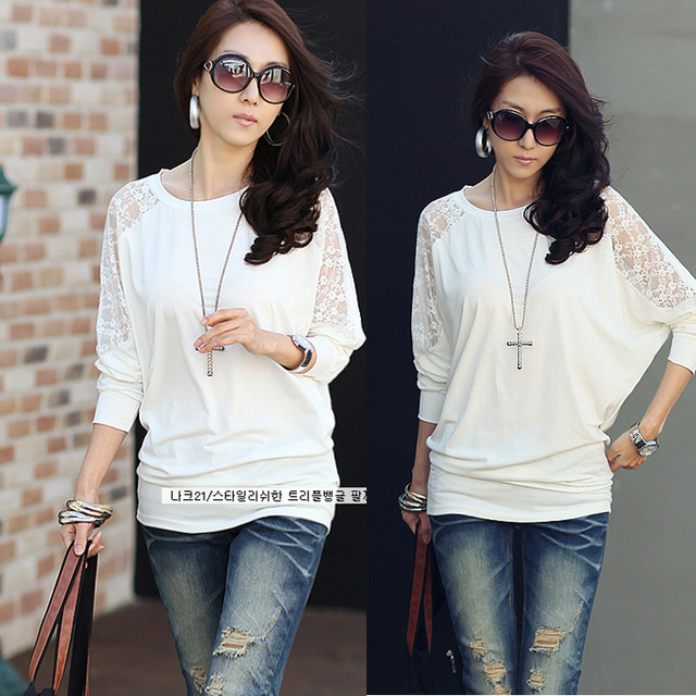 Plus size clothing 2013 spring batwing sleeve lace patchwork T-shirt long-sleeve sweater batwing shirt
