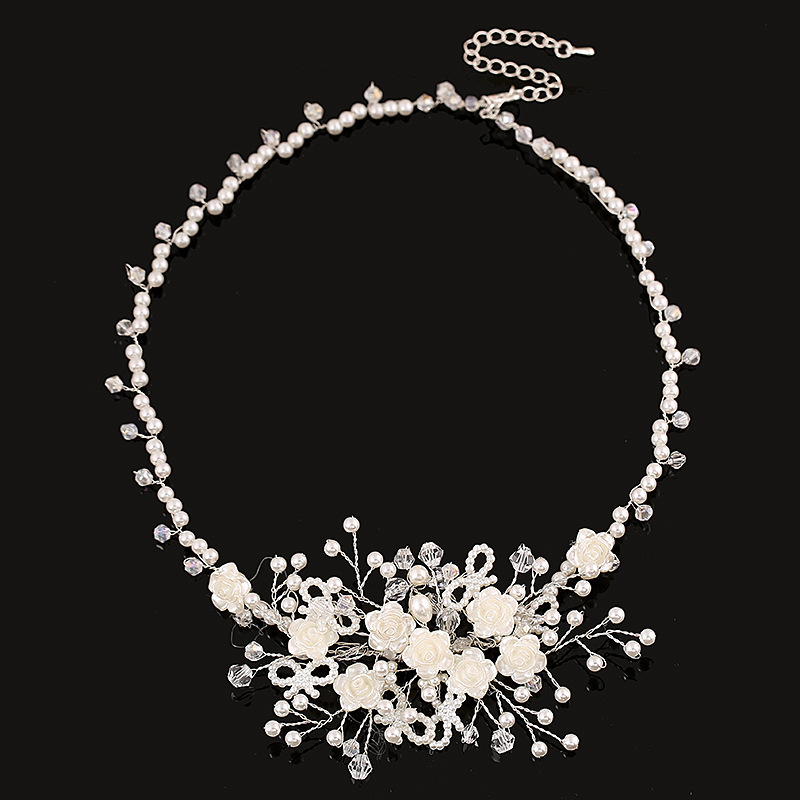 Crystal and Pearls Wedding Jewelry Bridal Necklace Also Used as Wedding Headband Headchain Hair Jewelry Hair accessories(China (Mainland))