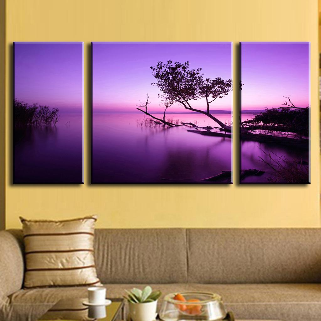 3 panels purple picture oil canvas printed paintings canvas art picture frame wall painting art. Black Bedroom Furniture Sets. Home Design Ideas