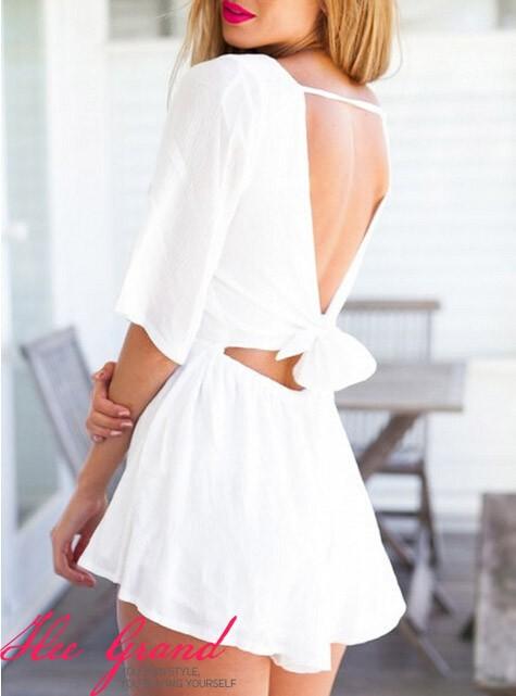 macacao feminino 2015 лето новых женщин локтя короткий комбинезон пляж сексуальный спинки лука белый красный комбинезон wkl455