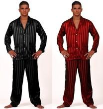 Mens Silk Satin Pajamas Set  Pajama Pyjamas PJS  Set  Sleepwear  Loungewear  U.S.S,M,L,XL,2XL,3XL Plus Striped Black(China (Mainland))