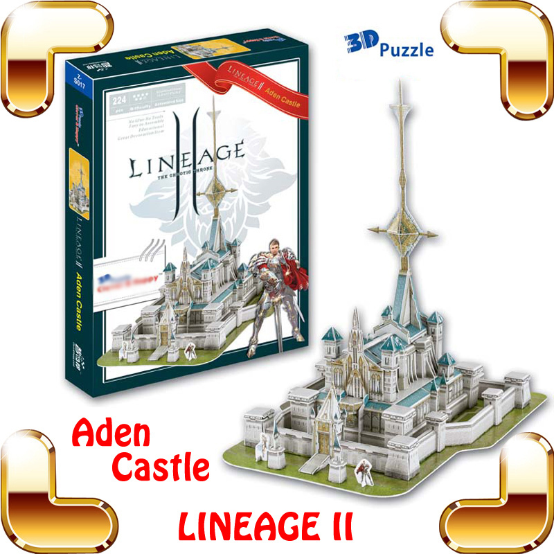 New Arrival Gift Lineage 2 Online Game Aden Castle 3D Model Building Puzzle PC Game Structure Collection DIY Built Fun Smart Toy(China (Mainland))