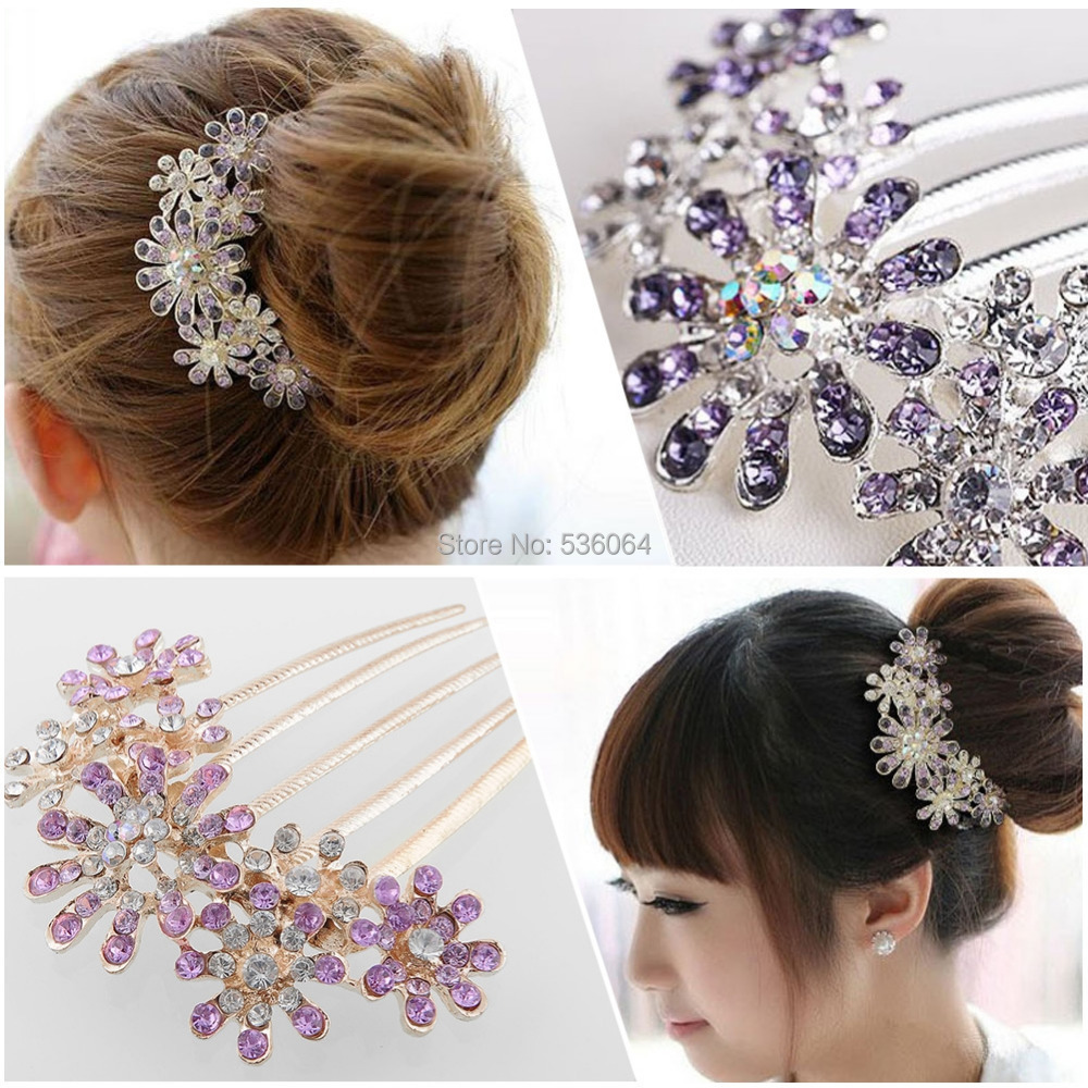1 pcs Rhinestone Crystal Flower Pattern Bridal Hair Tuck Comb Headwear Hair Ornaments hair accessories wedding