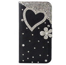 Diamond Love Case For Samsung Galaxy S3 S4 S5 S6 Edge i9060 3D Bling Premium Leather Crystal Rhinestone Flip Wallet Cover Case(China (Mainland))