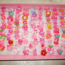 10pcs/lot  Animals Flower Heart Assorted Baby Girl Children's Cartoon Rings  free shipping(China (Mainland))