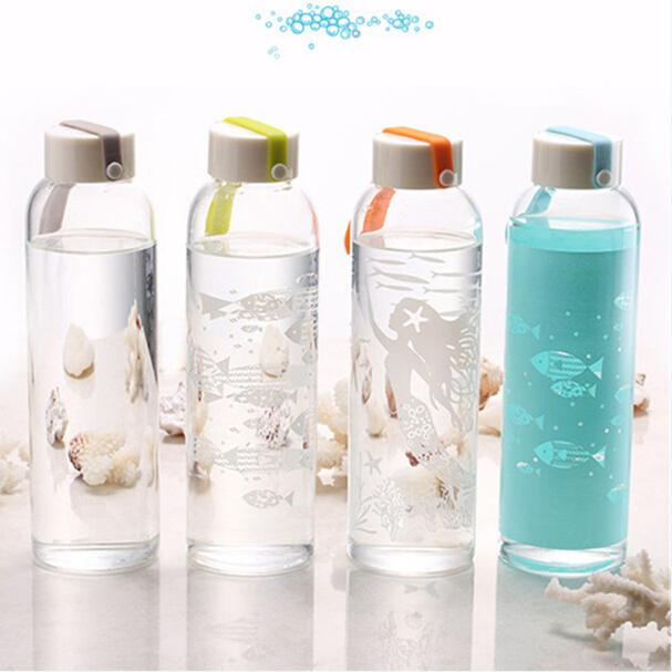 1 pcs Creative Sea World Glass Water Bottle with Lid and Rope Outdoor Sports Bike Tour Travel Bicycle Kids Water Bottle(China (Mainland))