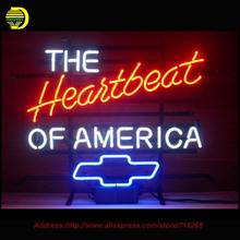 The Heartbeat of America Chevrolett Neon Sign Bear Handcrafted Neon Bulbs Glass Tube Custom Lamp Bulb Resistor Flashlight 19x15(China (Mainland))
