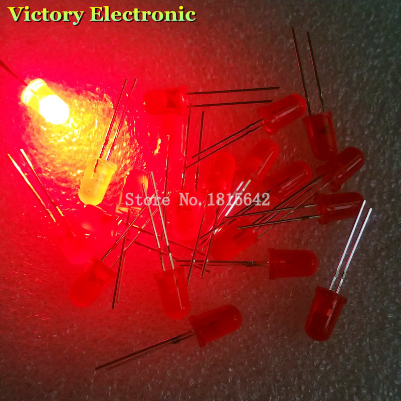 100 PCS/Lot 5MM Red LED Diode Round Diffused Red Color Light Lamp F5 DIP Highlight New Wholesale Electronic(China (Mainland))