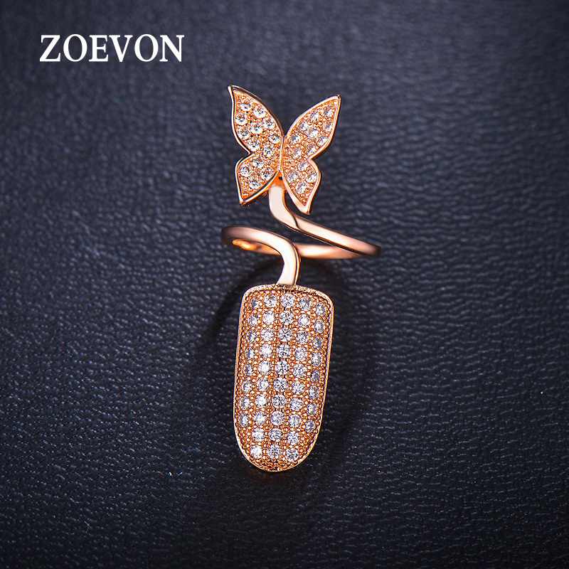 ZOEVON Brand Gold Plated Women's Finger Nail Rings Cute Butterfly Trendy Jewelery Ring For Women Cubic Zirconia Micropave(China (Mainland))