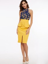 Buy Kinikiss women bodycon patchwork dress 2017 summer yellow halter print office dress spring sheath sexy fashion bodycon dresses for $9.28 in AliExpress store