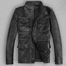 Free shipping Multi-pocket fashion slim stand collar outerwear calf skin casual leather jacket genuine leather male clothing(China (Mainland))