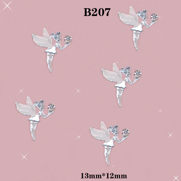 20 pcs / lot Charm white Wing Fairy Angel Clear Crystal 3D Alloy Acrylic Nail Art  DIY Phone Case Decoration Size:13*12mm / B207