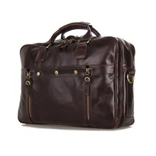 "High Quality Vintage Coffee Genuine Leather Briefcase Men Cowhide 14"" Laptop Bag Portfolio Men Messenger Bags #MD-J7201"