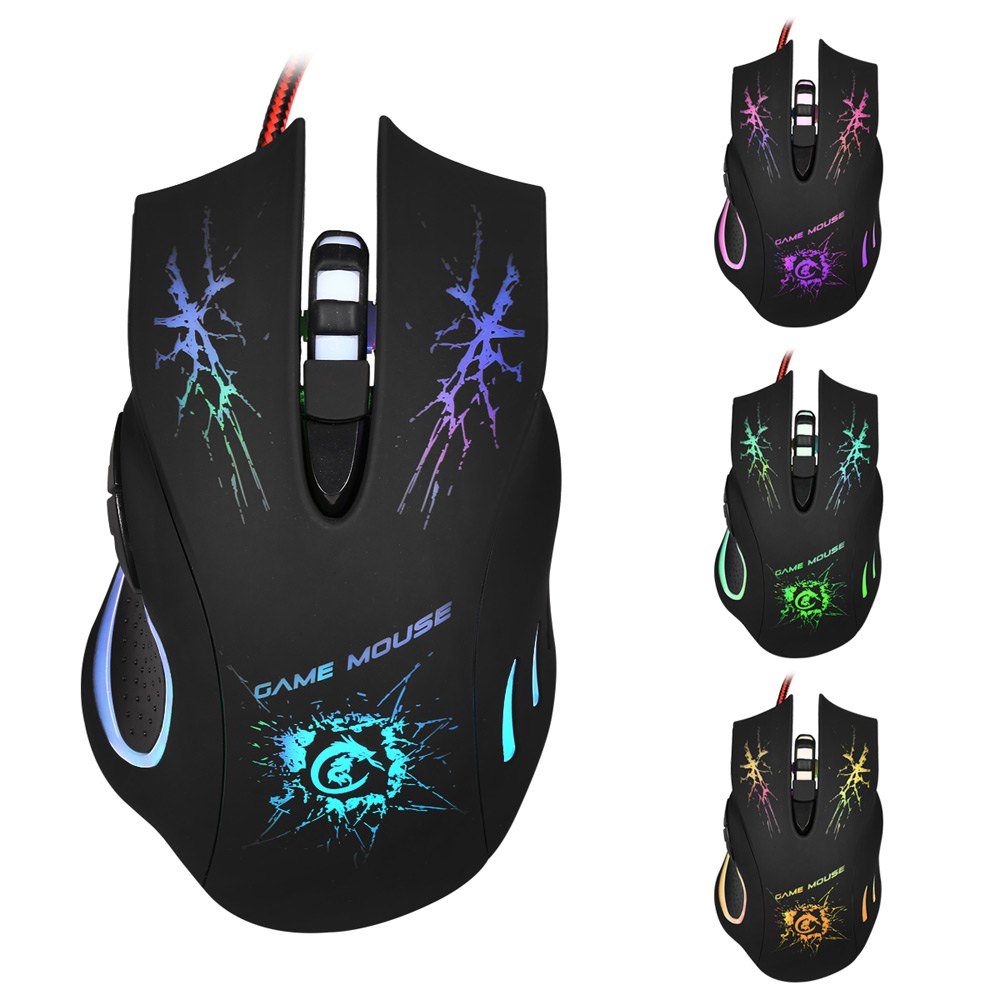 High-end Hot Sale Cool A888A 5500 DPI Professional USB Wired Optical 6-Key Game Mouse with Colorful Light For PC Laptop Desktop(China (Mainland))
