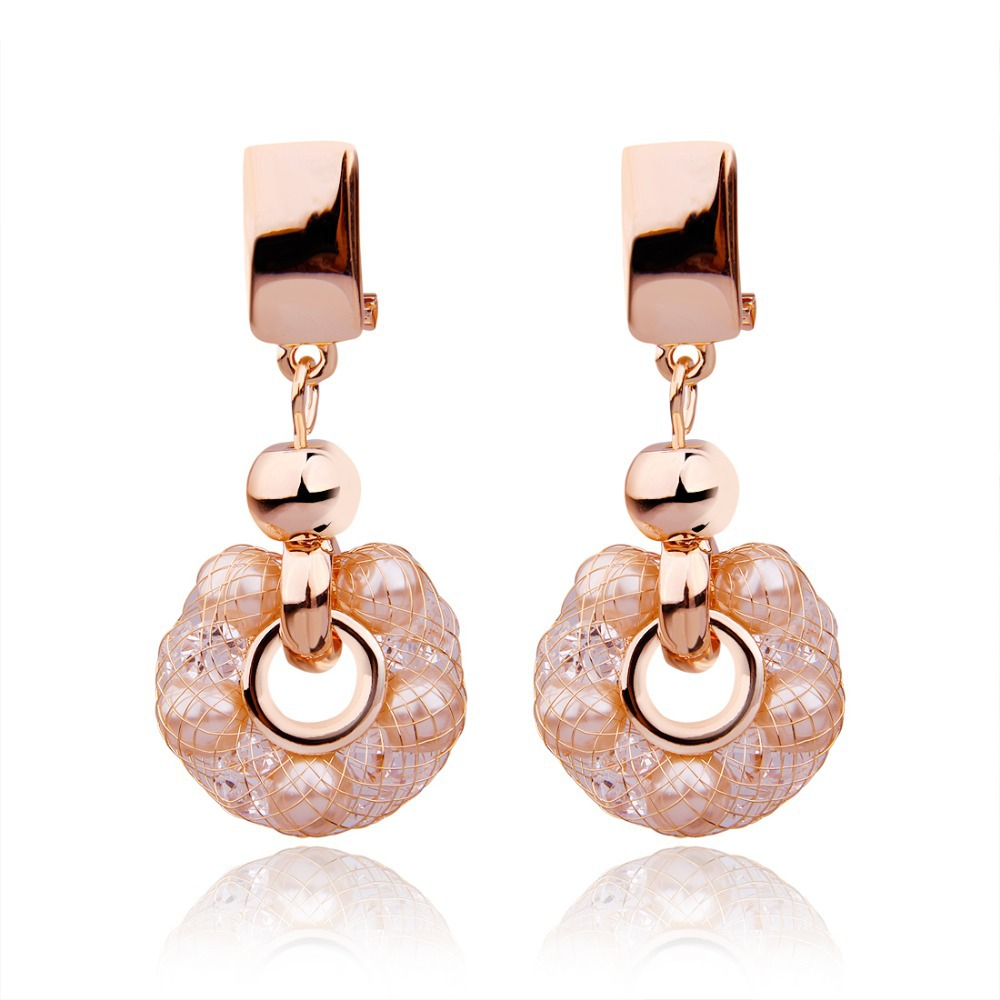 Fashion Luxury Anniversary crystal Jewelry Women Champagne Gold Plated Zircon Crystal Earrings - VOROCO Jewellery Store store