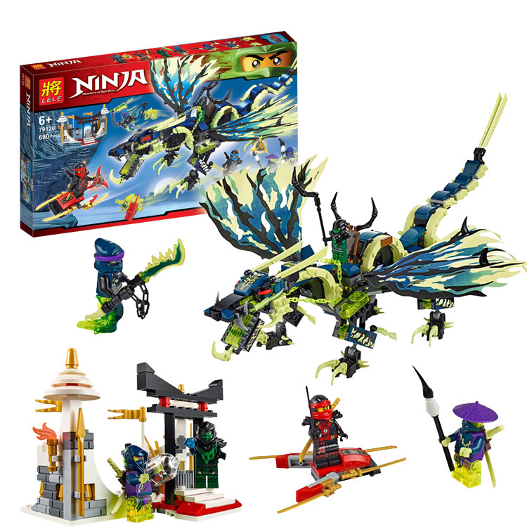 LELE 79120 Ninja Minifigures Phantom Attack Morro Dragon Building Blocks Sets Model Toys Children