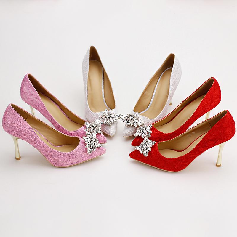 Women Wedding Shoes Pointed Toe White lace rhinestones Bridal Shoes High Heels Elegant Party Shoes Satin Sapatos Femininos<br><br>Aliexpress