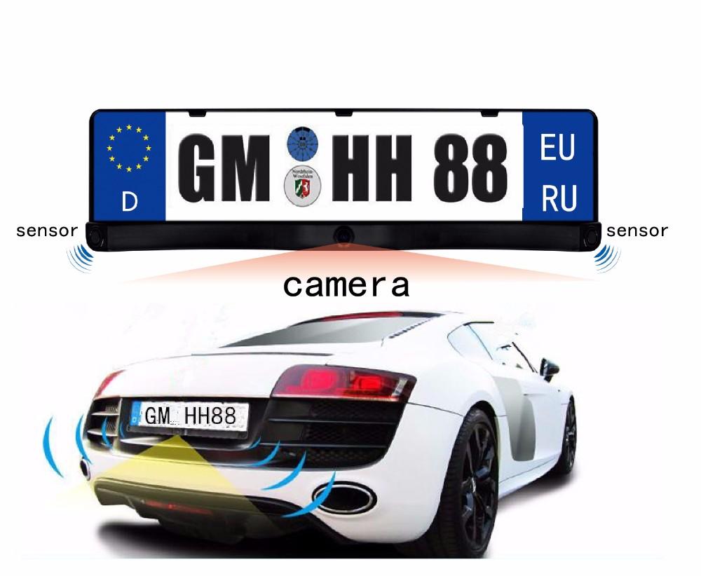 EU European Russia Car License CCD Rear / Front View Camera Plate Frame Parking Camera Two Reversing Radar Alarm Parking Sensors