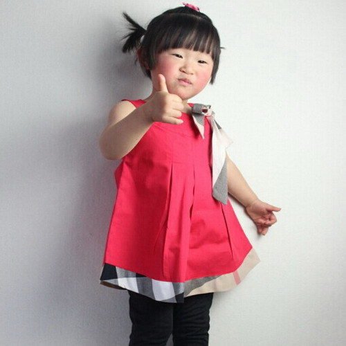 2015 Girl Dress 100% Cotton Baby Girls Dresses Casual Kids Clothes Summer Children Clothing Classical Plaid Vestidos(China (Mainland))