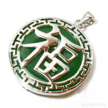 Hot sale new Style >>>>>Green Jade White Gold Plated Fortune Letter Luck Pendant and Necklace(China (Mainland))