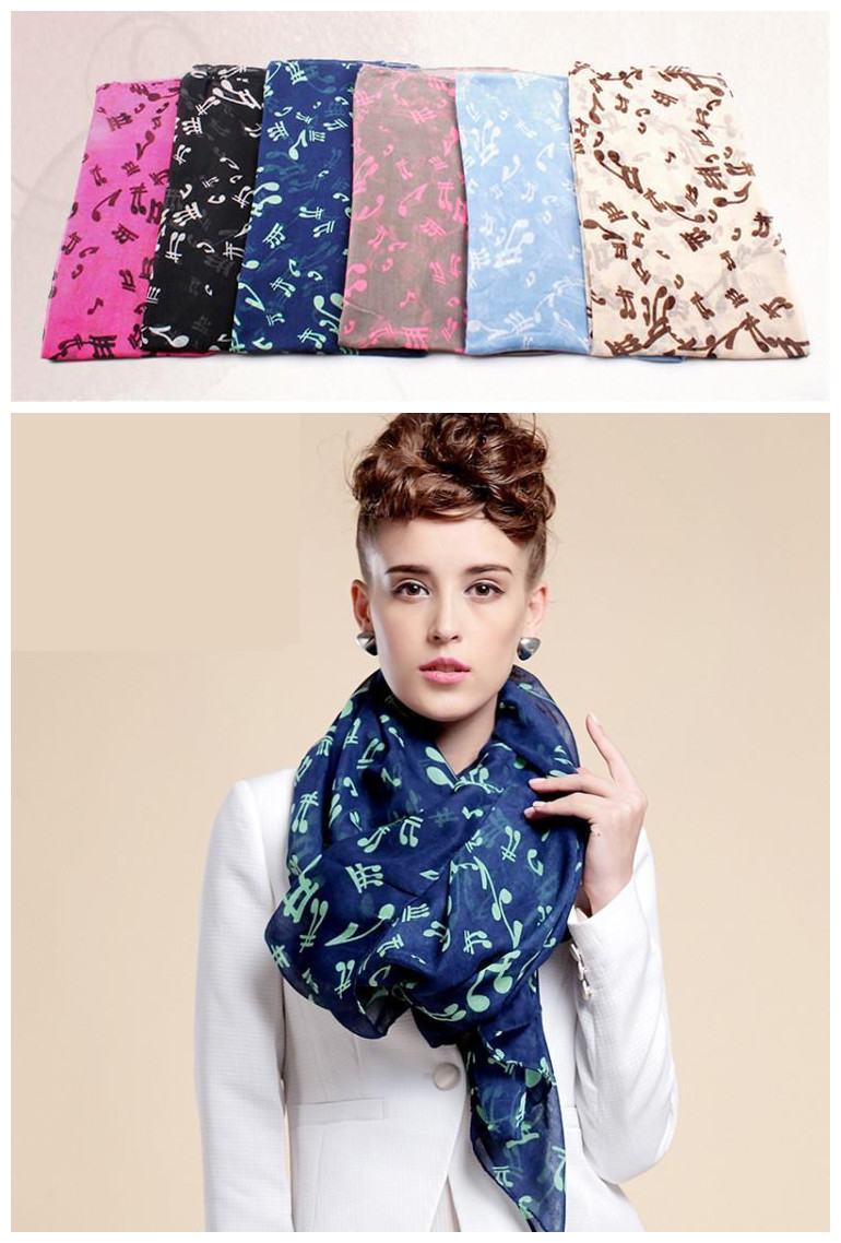 6 Colors Sweet Music Notes Print Scarf Fashion Women Lady Viscose Voile Shawl Muffler Ocean Scarves(China (Mainland))