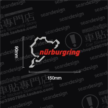 Tin Hot sale Green nurburgring body stickers reflective stickers Drop Shipping(China (Mainland))