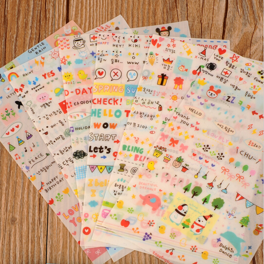 6 Sheet/lot New Cute Lovely Paper Stickers for Diary Scrapbook Book Wall Decor for decoration Cartoon stickers(China (Mainland))