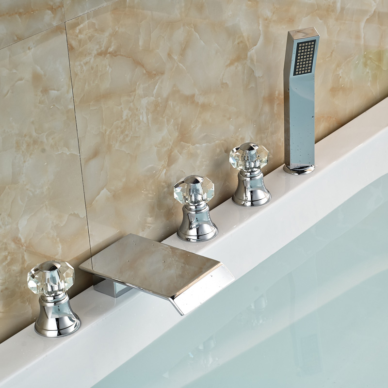 Фотография Polished Chrome Widespread 5pcs Bathroom Tub Faucet Set Deck Mount 5 Holes Waterfall Tub Mixer Taps