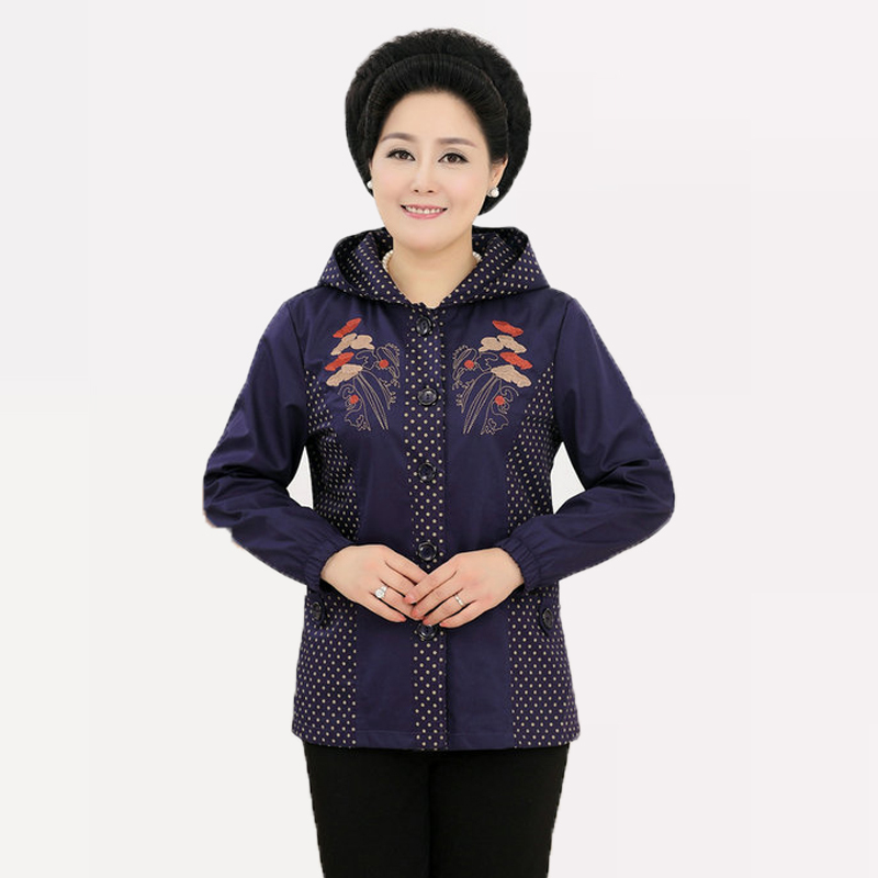 Autumn Chinese Women Embroidery Purple Jacket Outwear Middle Age Fashionable Dark Red Green Coat With Cap For Mom Grandma 4XL(China (Mainland))