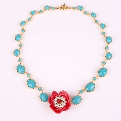 2015 new arrival Les Nereides  enamel Glaze  Resin pink rose flowers pearl sapphire necklace short paragraph clavicle<br><br>Aliexpress
