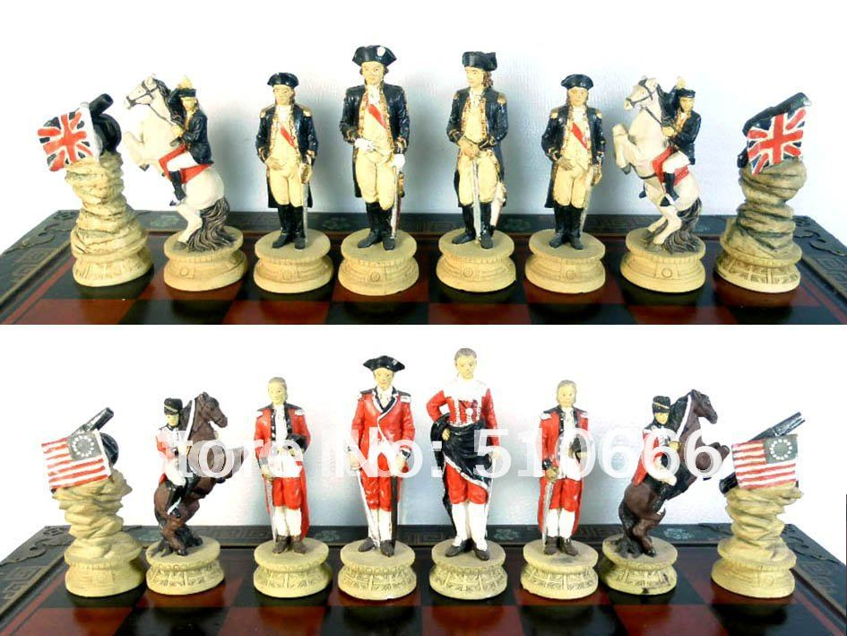 Revolutionary war theme chess inimitable design.made resin,best gift friend/chess pieces - SWEET HOME ACCESSORIES MANUFACTORY store
