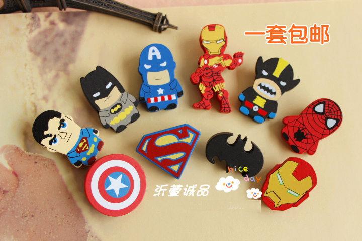 100pcs/lot  wholesale The Avengers  Captain America,Iron Man,Batman,Spiderman,Superman Cute Retro wood Pin/Brooch Free Shipping<br><br>Aliexpress