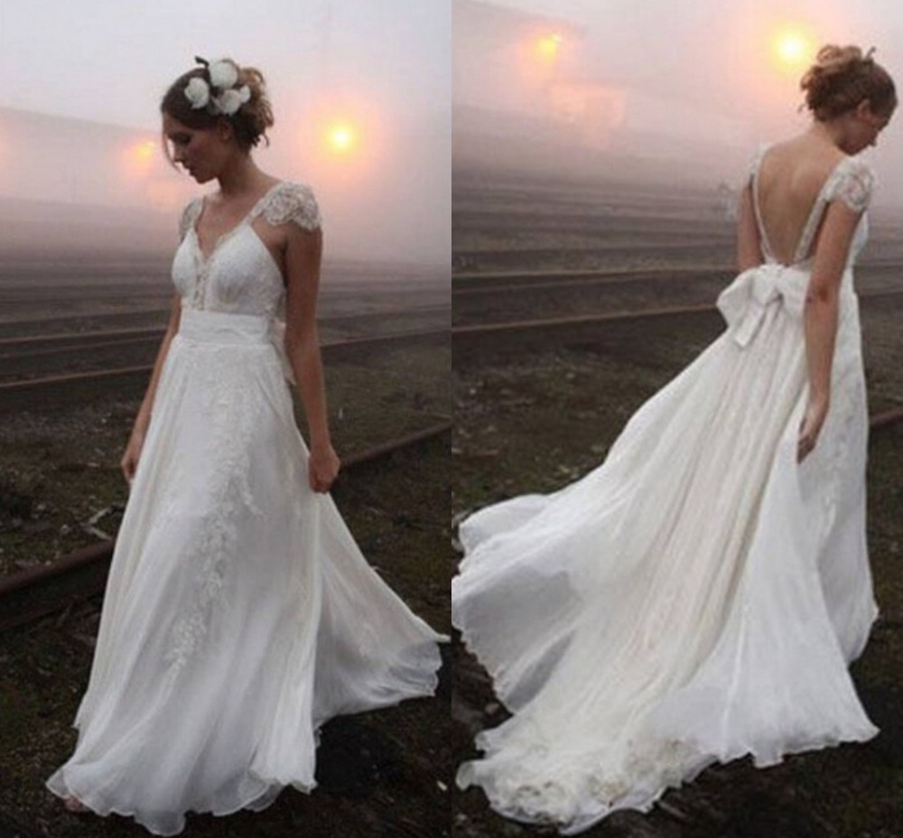 brautkleid bohemian white lace v neck bridal gowns with cap sleeves boho sexy open back beach. Black Bedroom Furniture Sets. Home Design Ideas
