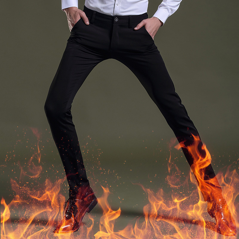 New winter Mens classic stretch cotton thick warm skinny pants with fur inside Straight Leg suit pants size 28-38 z102