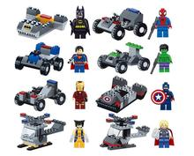 Marvel DC Lot of 16 Set Building Toy Action Mini Figure Super Heroes with Vehicle Kids Gift Free Shipping Compatible With Lego(China (Mainland))