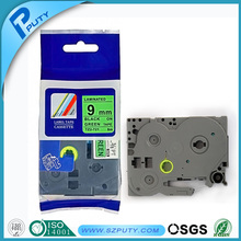 Compatible laminated TZ label tape TZ-721 black on green for P-touch label makers