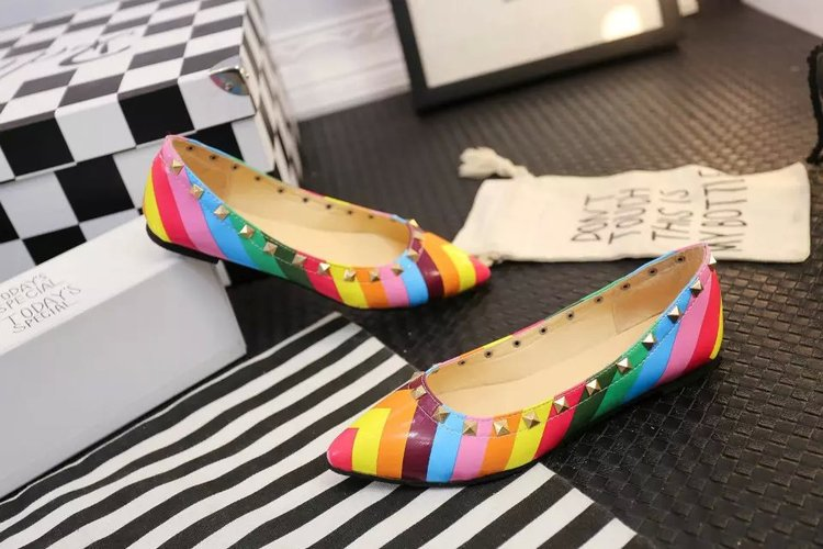 Hot! new 2015 spring/summer women fashion rainbow pointed rivets flat shoes ladies shallow mouth daily casual shoes Wholesale <br><br>Aliexpress
