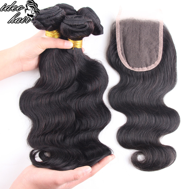 Peruvian Virgin Hair With Closure Peruvian Virgin Hair Body Wave With Closure Hair Bundles With Lace Closures 4 PCS LOT<br><br>Aliexpress