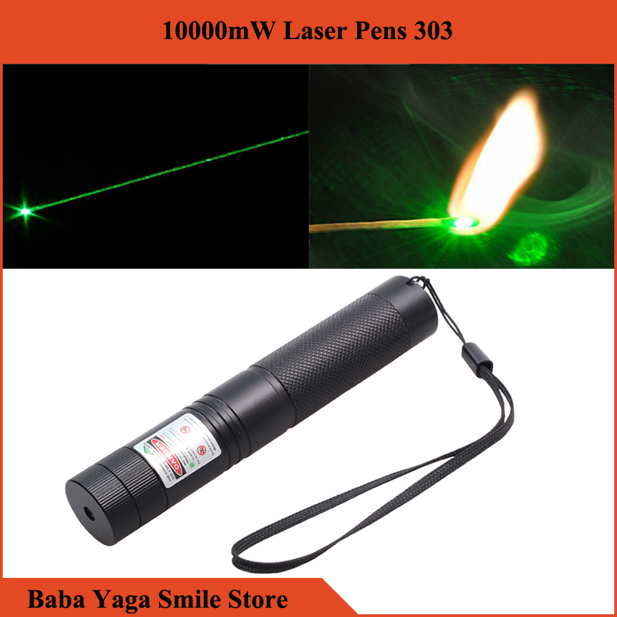 Promotion ! 10000MW High Power Powered Burning Green Laser Pointer 303 Pen Laserpointer, 532nm 18650 Battery(China (Mainland))