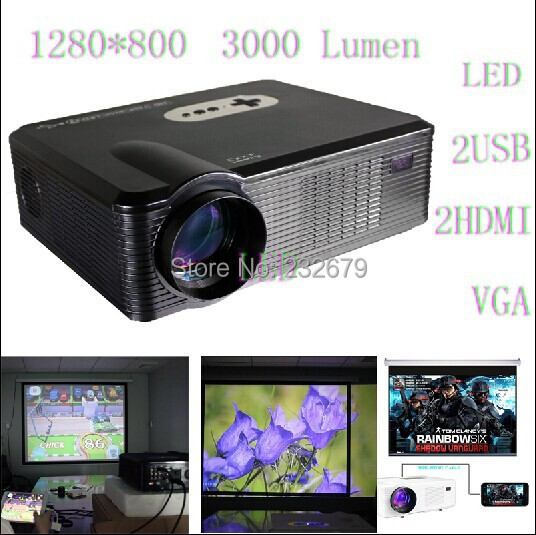 Support 3D Video Projector Led 1080p With 1280*800 Resolution 2 Speakers Connect DVD,TV,PC,telephone,Ipone,ps3 For Entertainment(China (Mainland))