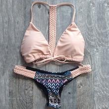 Hot Triangle Swimwear Bandage Bikini 2015 Sexy Beach Swimwear Women Swimsuit Bathing Suit Brazilian Bikini Set maillot de bain(China (Mainland))
